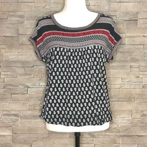 Max Studio black, white and red boho top